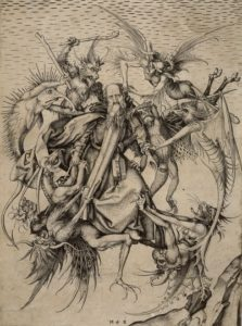 The Temptation of St Anthony. Engraving, Martin Schongauer, c.1480. Metropolitan Museum of Art, New York.