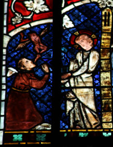 Jesus casts out demons. Stained glass, Strasbourg Cathedral, 13th century.