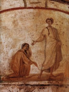 Healing of a Bleeding Woman, Rome, Catacombs of Marcellinus and Peter