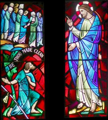 Healing of Ten Lepers. Stained glass window, Cathedral of Mary Our Queen, Baltimore.