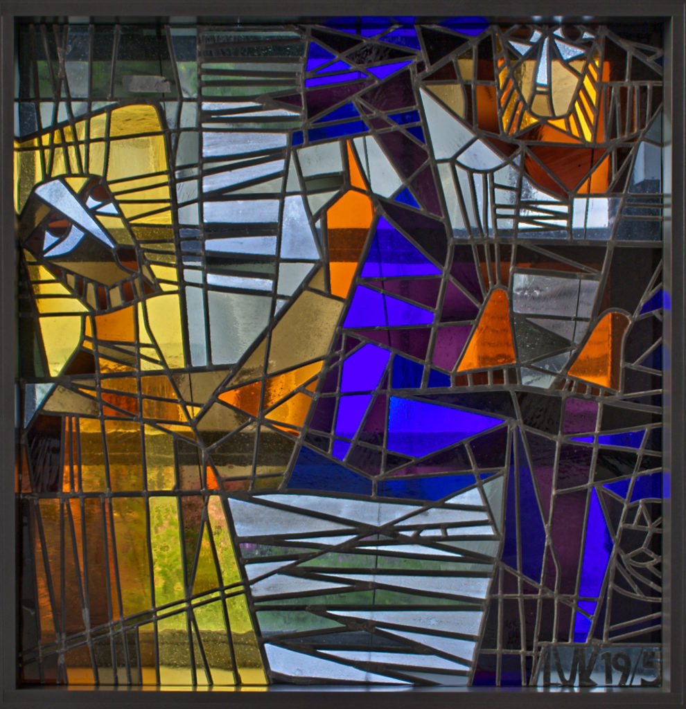 """Stained glass window in the the protestant Christ church in Korntal in Baden-Württemberg. """"Hurry down, Zacchaeus"""""""