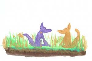 Tree Book Two Foxes Gazing