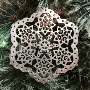 Silver Snowflake on Christmas Tree