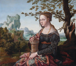 Mary Magdalene, by Jan van Scorel, c. 1530. Mary Magdalene was often misidentified as the harlot who anointed Jesus' feet with perfume