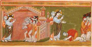 Cleansing of the Ten Lepers. Codex Aureus Epternacensis. c.1035-1040