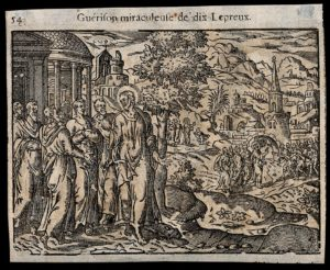 Christ Cures Ten Lepers. Woodcut. From the Wellcome Trust.
