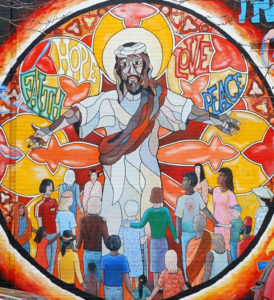Jesus Mural of Faith, Hope, Love, and Peace