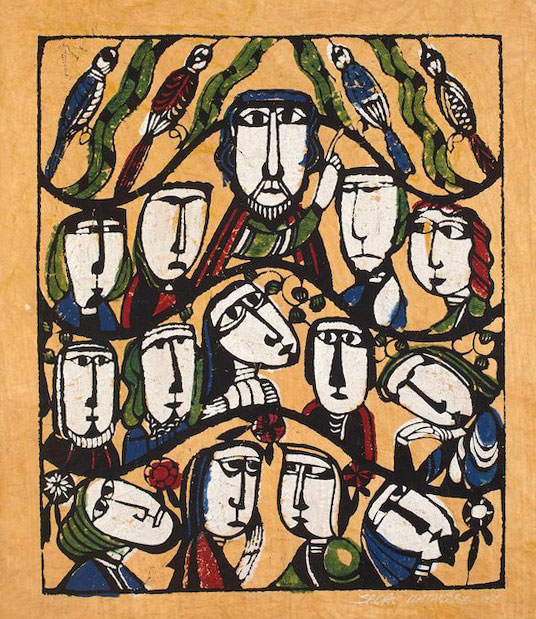 Sermon on the Mount. Print by Sadao Watanabe, 1968.